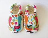 ON SALE Blue and Orange Peacock Baby Girl Shoes