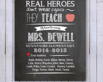 DIGITAL FILE Teacher's Printable-Personalized Class Names, Teacher Appreciation, Class Gift, End of year, Teacher Gift, Personalized, 8x10