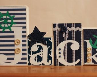Green Nautical Name Blocks- Personalized Nautical Name- Nautical Party- Green Nautical Nursery- Nautical Wood Sign- Navy Green Nautical Room