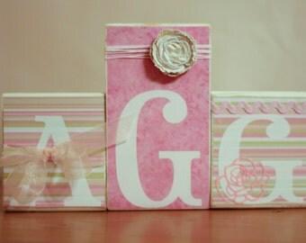 Monogram Nursery- Baby Monogram Blocks- Pink Green Nursery- Rose Nursery- Chic Floral Nursery- Personalized Wood Blocks- Custom Monogram