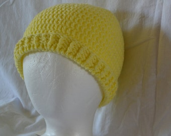 Light Yellow Stocking Cap with Ribbed Brim