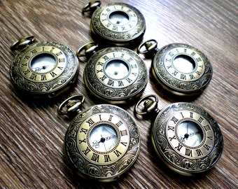 Wedding Pocket Watch Set of 6 Personalized Antique Bronze Quartz and Vest Chains Groomsmen Gift Wedding Party Gift Ships to US/Canada BRRQ
