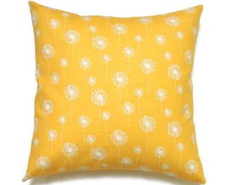 Yellow Dandelion Pillow, Flower Pillow, 20x20 Pillow Cover, Floral Decorative Pillows, Modern Pillow, Small Dandelion Corn Yellow Slub