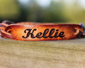 CUSTOM LEATHER Bracelet , Valentine Gift, Braided Leather Bracelet, bold script font as shown- Free Engraving - Say what you Want!