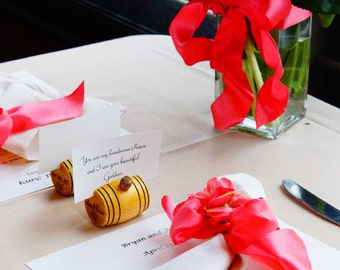 Personalized Wine Barrel Place Card Holders - 2 Sided