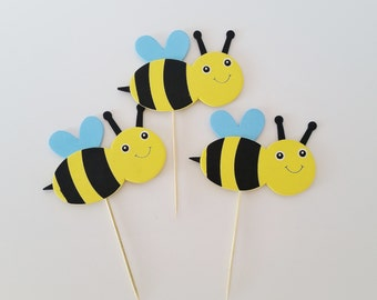 Bee Diaper Cake Toppers Wooden Bumble Baby Shower Decor