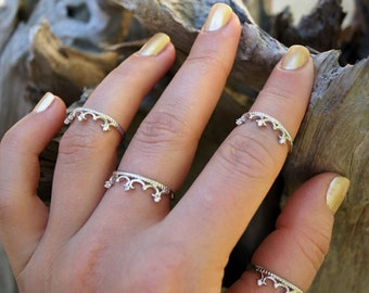 Silver CZ Crown Ring - Knuckle Ring - Midi Ring - Trending Rings - Statement Rings
