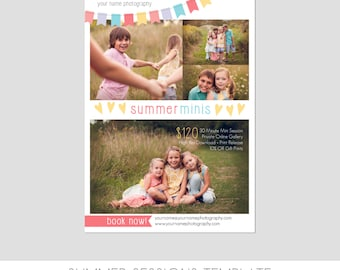 INSTANT DOWNLOAD, Mini Session Postcard, Photography Template, Flyer, Kids, 5x7, Minis, Photoshop, Elements, Easy, Summer Photo Session