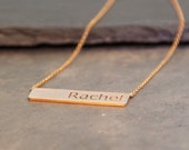 14K Rose Gold Name Plate Necklace - Choose A Name, Word, or Inspiration - Hand Brushed with Black Filled Letters