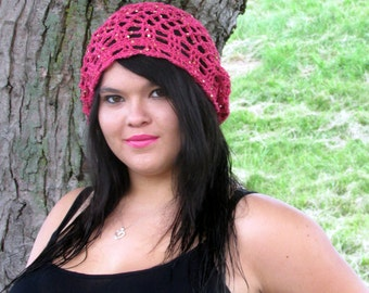 Lace Slouch Boho Summer Hat, Bohemian Summer Nights Hat, Sequined Hippie Hat, Festival Hat, Dusty Rose Sequined Cotton Summer Hat