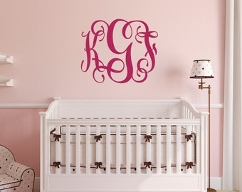 Nursery Vine Monogram Wall Decal, Vine MonogramDecal, Nursery Monogram, Personalized Girls Monogram, Nursery Wall Decal