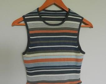 vintage sporty striped crop top