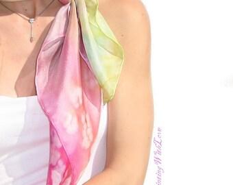 Hand painted silk scarf. Summer small square scarves. Pink Lemon Green flowers. SPRING sakura cherry Blossom Pastel scarf.  birthday gift.