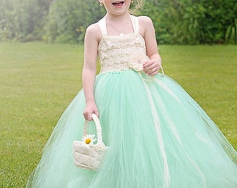 Mint and Ivory Lace Flower Girl Dress