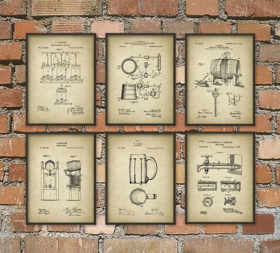 Beer Brewing Patent Prints Set Of 6 Beer Poster By