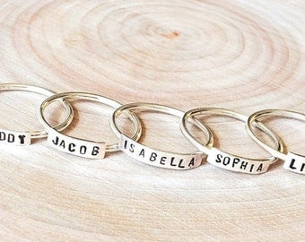 Uppercase Personalized Sterling Silver Ring.  Everyday wear ring.  Simple monogram ring.  Initial ring.  Hand-stamped ring.