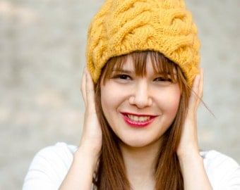 Cable knit Winter Hat, Mustard By Color, Hand knitted beanie