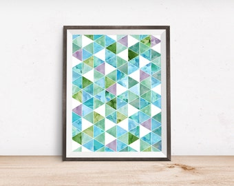 "Geometric Watercolor Printable Art - Instant Download - 4x6"" 5x7"" 8x10"" 8.5x11"" A4 11x14"""