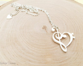 Music Necklace/ Music Note Necklace/ Heart music necklace/Music Lover Necklace - G clef Necklace - Silver music note necklace