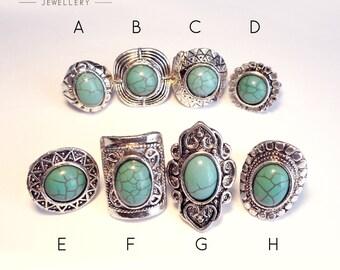 Aztec Bohemian Turquoise Stone Ring -Boho Vintage Silver Armour Jewellery- Navajo Tibetan Festival Style -Thumb Rings -Adjustable Rings