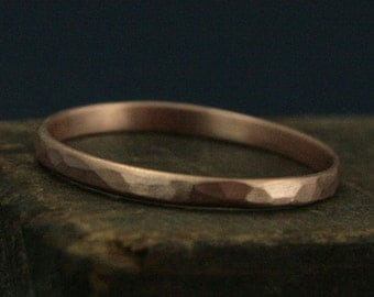Hammered Rose Gold Ring--2mm Wide Perfect Hammered Band--Women's Wedding Ring--Hammered Wedding Band--Rose Gold Wedding Ring--Thin Gold Ring