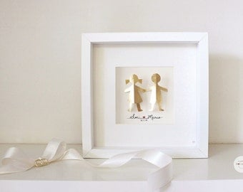 Personalized Anniversary, wedding couple gift, customized gift - couple love - Paper 3D - gold-leaf - framed with glass