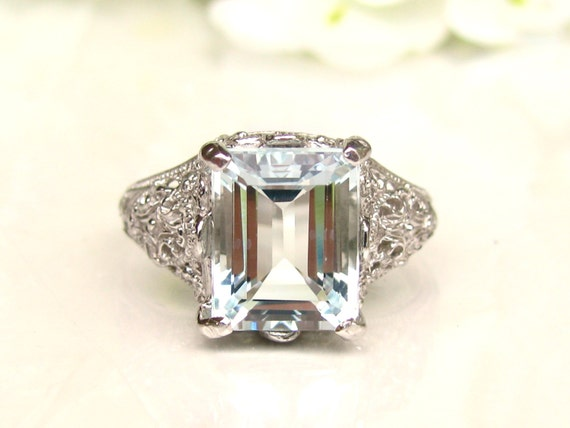 Vintage Aquamarine Engagement Ring 3 79ct Emerald Cut