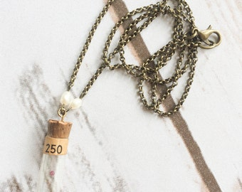Watchmakers Vial Necklace with Rubies and Freshwater Pearls - Found Objects Necklace