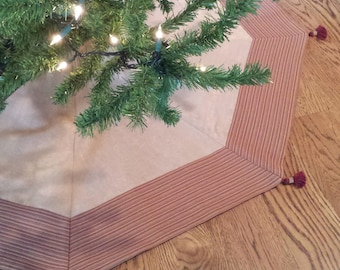 """50"""" Christmas Tree Skirt with Tassels: gold faux suede with burgundy striped banding, modern, contemporary, classic, masculine"""