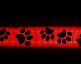 Paw print light up dog collar glows in red, white, blue, pink, orange, yellow; lighted LED illuminated pet collars w/ quick release buckle