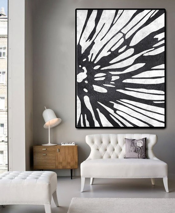 Huge abstract painting on canvas vertical canvas by for Large artwork for wall