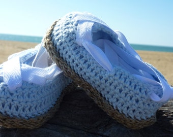 """Sneakers baby """"blue and white"""" and pure linen thread pure Egyptian cotton made in France"""