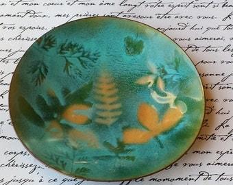 ARTISAN ENAMELED COPPER Dish~Botanic Garden Enamelware~Ferns Leaves~Ring Dish Trinket Dish~Blue Green Orange~Vtg Home Decor~JewelsandMetals.