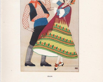 traditional dress Spain peasant costume Kathleen Mann vintage book plate spanish folklore Europe