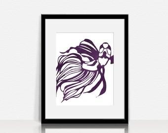 Watercolor Beta Fish - Graphic Wall Art - Digital Instant Download