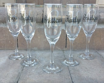 Personalized Bridesmaid Champagne Glasses, Bridesmaid Toasting Flutes, Monogram Glasses