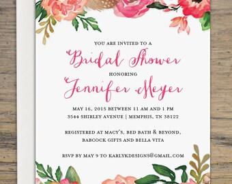 Rustic Bridal Shower Invitation - Printable Bridal Shower Invite - Floral Wedding Shower Invitations - Wedding Printable Bridal Shower