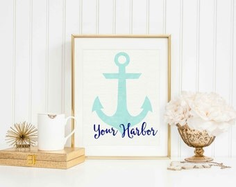 "Digital Watercolor Art Print: ""Your Harbor"" - Instant Download!"