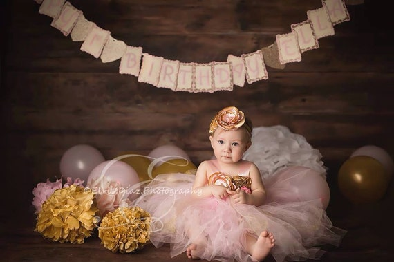 Gorgeous Light Pink and Gold Tutu Dress Satin Shabby Chic Flower Tutu Dress for Baby Girl 6-18 Months old First Birthday