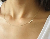 Sideways Name Necklace ~ Personalized Mini Name Necklace ~ Name Necklace ~ Thin Gold Name Necklace ~ Mother's Day Gift