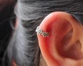 Flower Ear Cuff Earring, Sterling Silver Ear Cuff, Flower ear cuff, Cartilage Cuff, Silver Ear Cuff, Ear cuffs no piercing, Ear Cuff Earring
