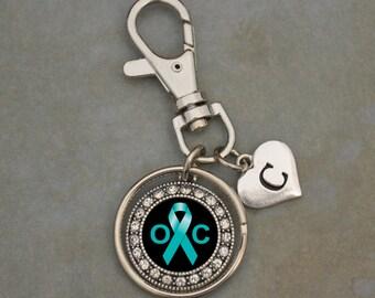Custom Initial Ovarian Cancer Awareness Keychain