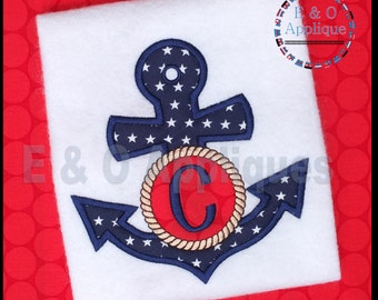 Anchor Monogram Applique Design - Nautical Embroidery Design - Summer Embroidery - Boating Applique - Monogram Machine Embroidery