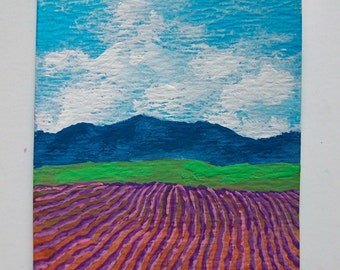 """Lavender Farm In Provence France #65 (ARTIST TRADING CARDS) 2.5"""" x 3.5"""" by Mike Kraus"""