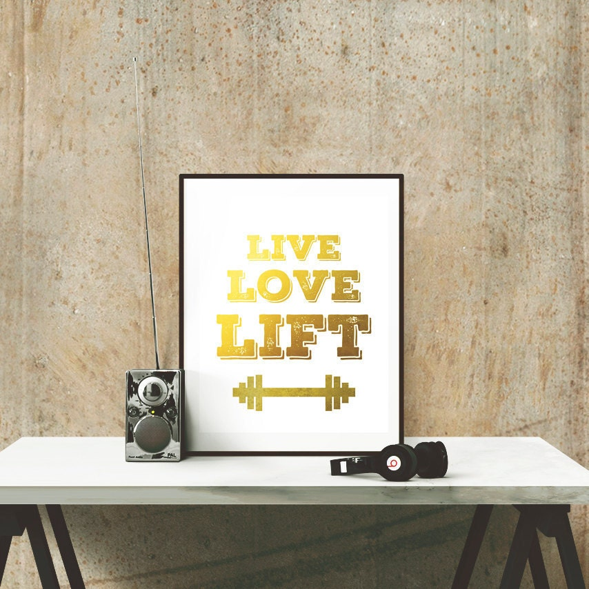 Poster Weights Etsy: Live Love Lift Gym Poster White-Motivational Fitness