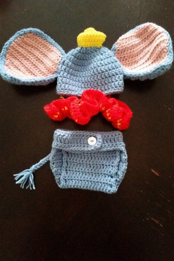crochet dumbo elephant newborn cute outfit baby outfit