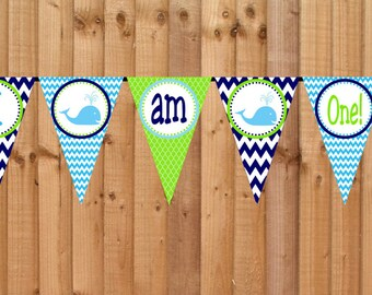 Whale High Chair Banner- INSTANT DOWNLOAD - Printable I am One Birthday Party Decorations