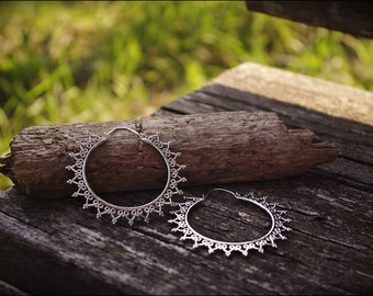 Silver earrings. Hoop earrings ethnic style. Tribal boho jewelry.