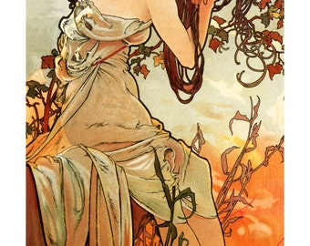 Summer Poster, The Seasons by Mucha, Ete, Sensual Beauty with Red Poppies in Her Hair