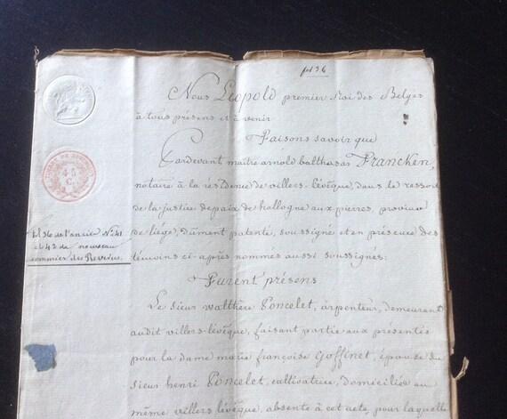 1833 Antique Handwritten Legal Document On Parchment Paper